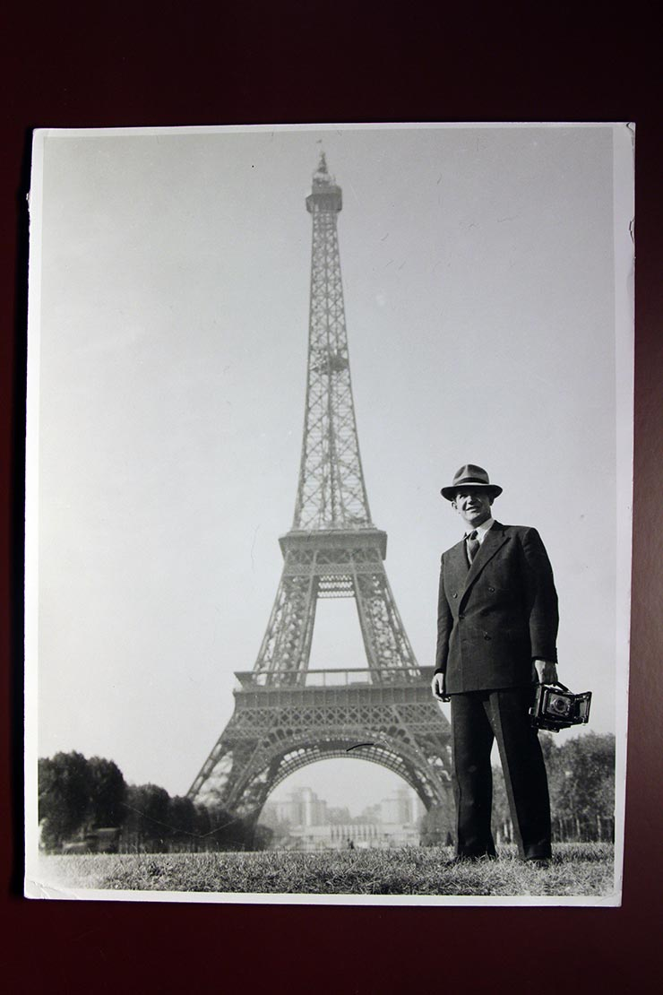 Khaldei in Paris during 1947 Peace Conference with the canera gifted Robert Capa
